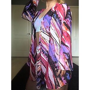 Sheer marble kimono